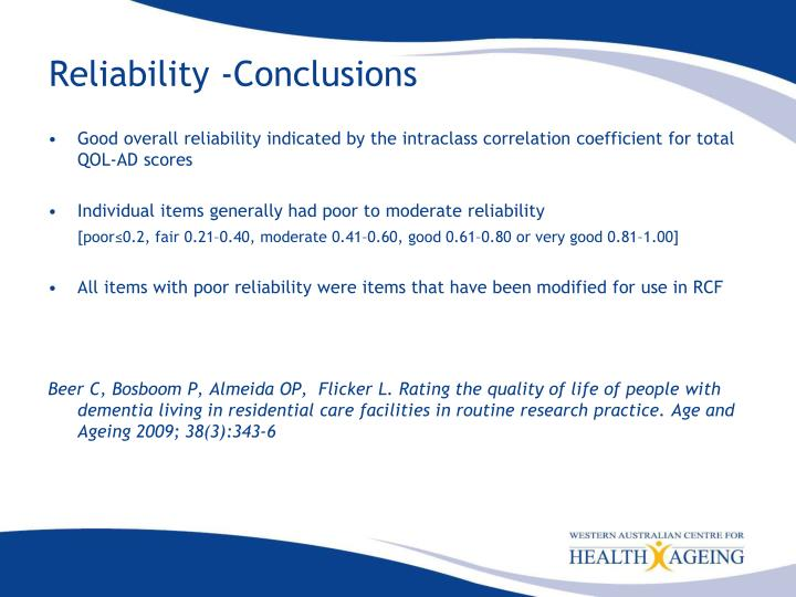 Reliability -Conclusions