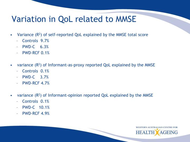 Variation in QoL related to MMSE