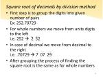 square root of decimals by division method