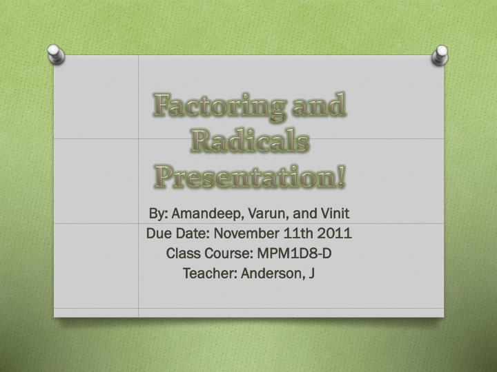 factoring and radicals presentation n.