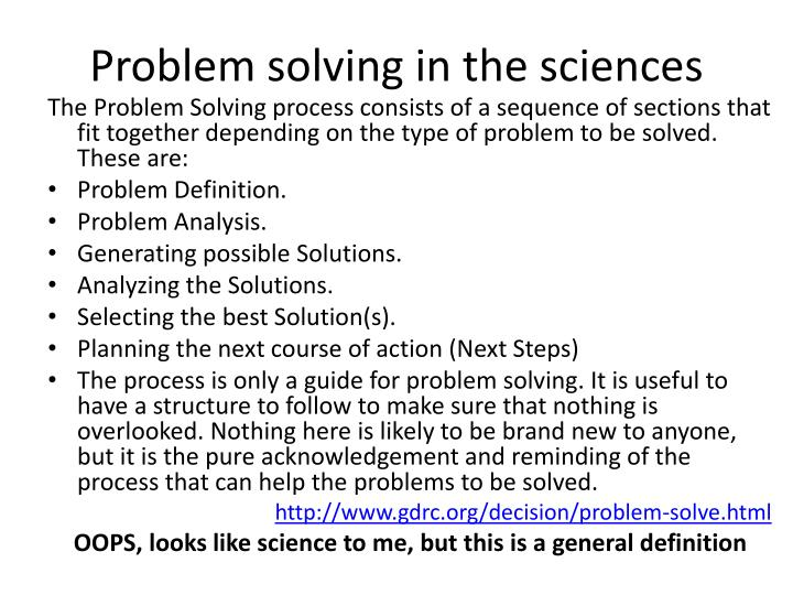 problem solving in the sciences n.