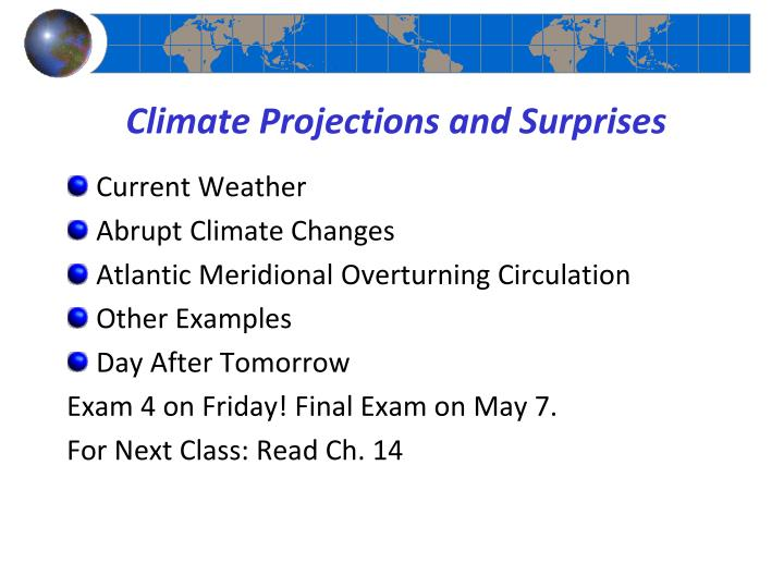 climate projections and surprises n.