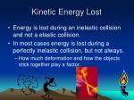 kinetic energy lost