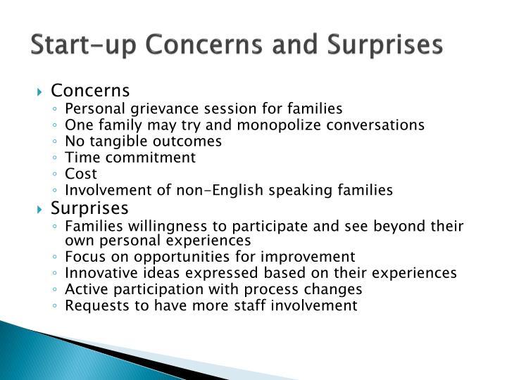 Start-up Concerns and Surprises