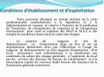 conditions d tablissement et d exploitation