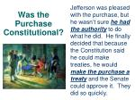 was the purchase constitutional