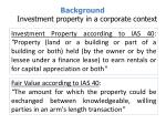 background investment property in a corporate context