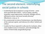 the second element intensifying social justice in schools