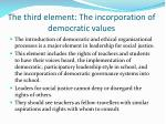 the third element the incorporation of democratic values