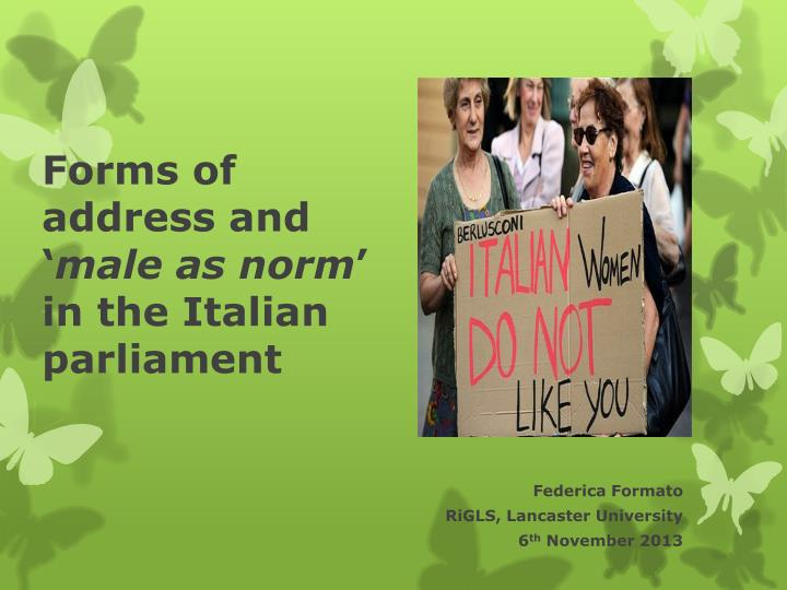 forms of address and male as norm in the italian parliament n.