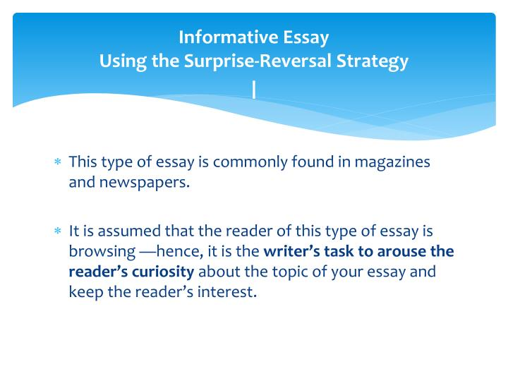 informative essay steps Writing an informative/explanatory/expository the expository essay is a kind of essay that asks students to investigate an sequence the steps to bake a cake.