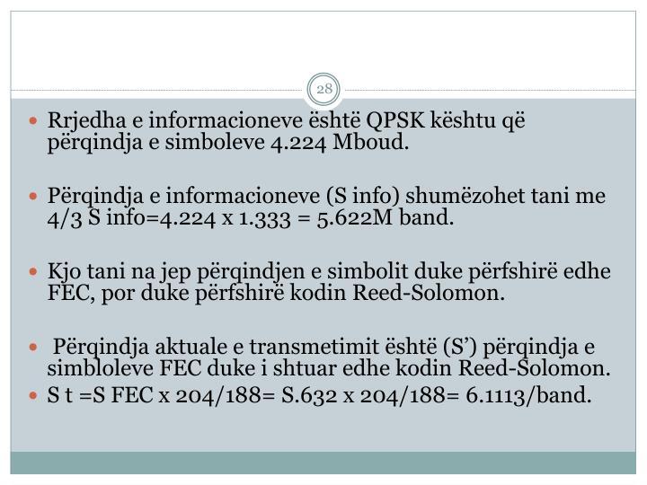 Rrjedha e informacioneve është QPSK kështu që përqindja e simboleve 4.224 Mboud