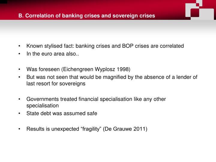 B. Correlation of banking crises and sovereign crises