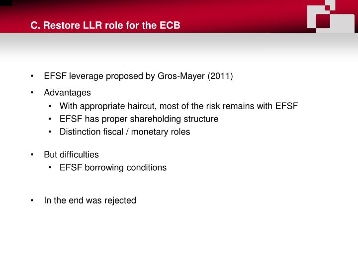 C. Restore LLR role for the ECB