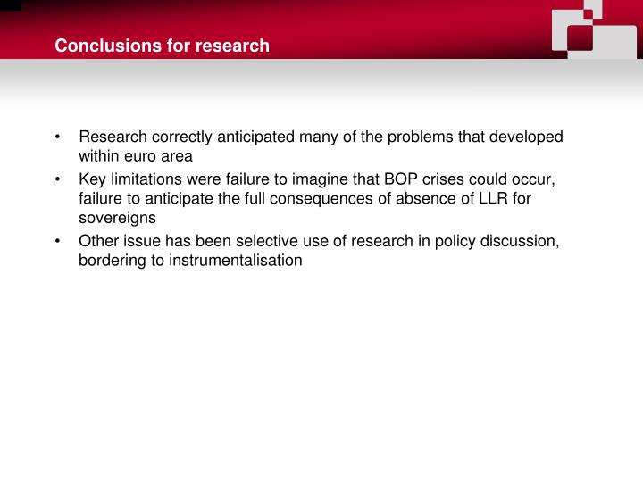 Conclusions for research