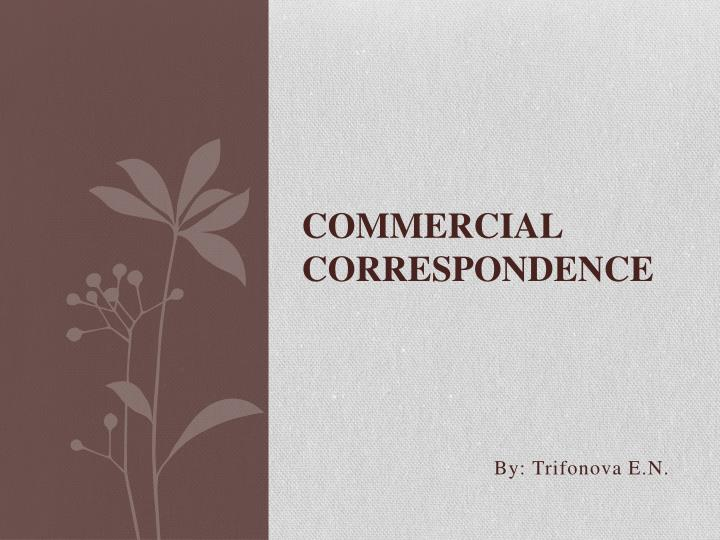 commercial correspondence n.