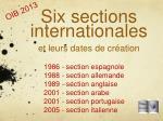 six sections internationales et leurs dates de cr ation