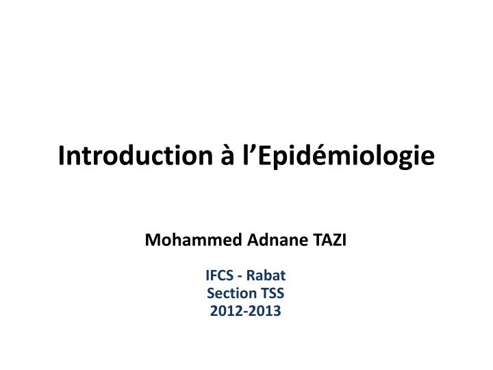introduction l epid miologie n.