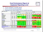 cost performance report at customer reporting level