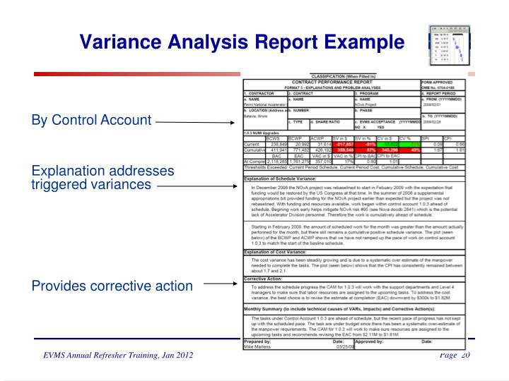 Variance Analysis Report Example