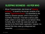 sleeping sickness as per who