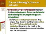 the sociobiology s focus on behavior