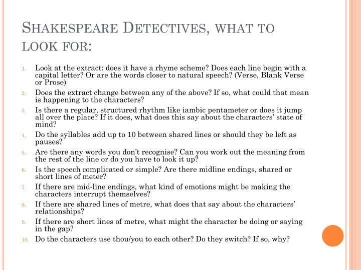 Shakespeare Detectives, what to look for: