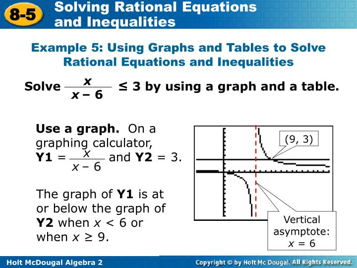 Solve              ≤ 3 by using a graph and a table.