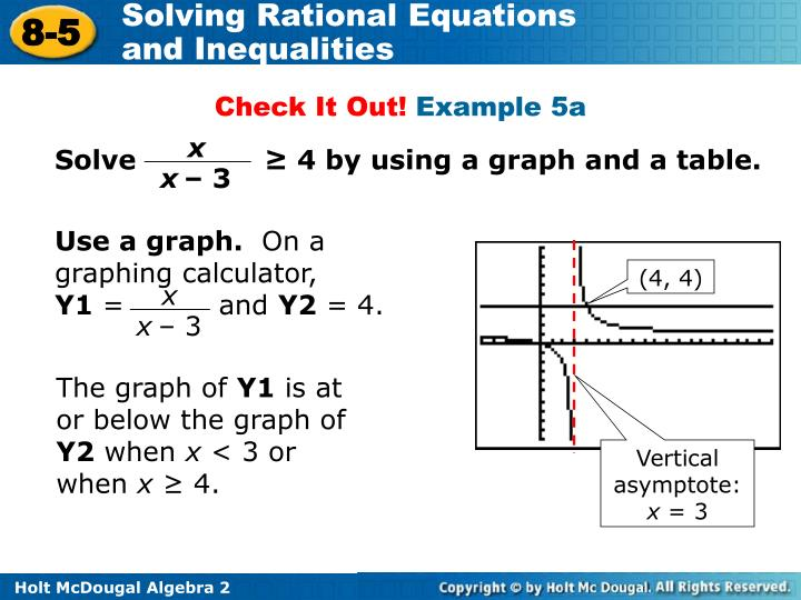 Solve              ≥ 4 by using a graph and a table.