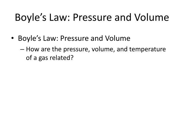 Boyle's Law: Pressure and Volume