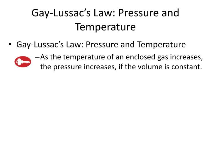 Gay-Lussac's Law: Pressure and Temperature