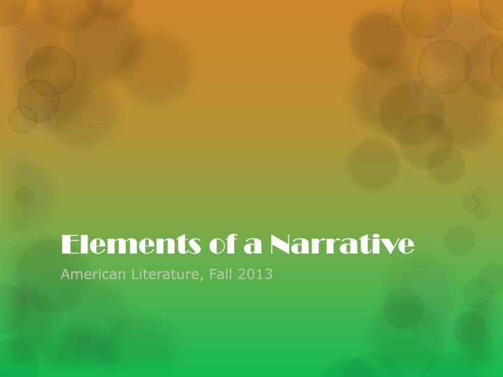 elements of a narrative n.