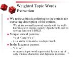 weighted topic words extraction