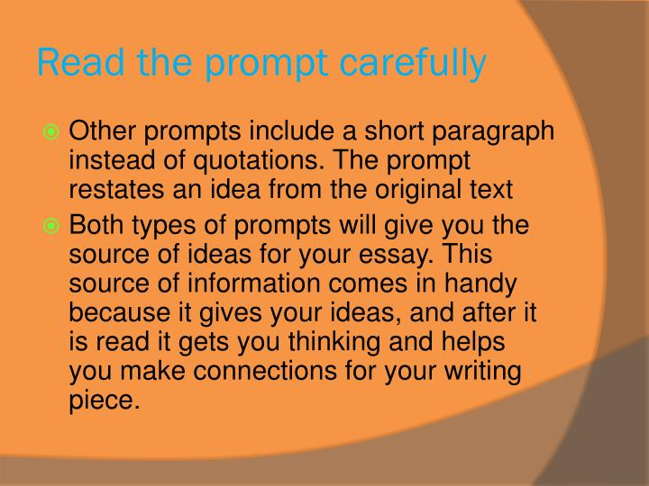 Read the prompt carefully