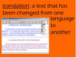 translation a text that has been changed from one