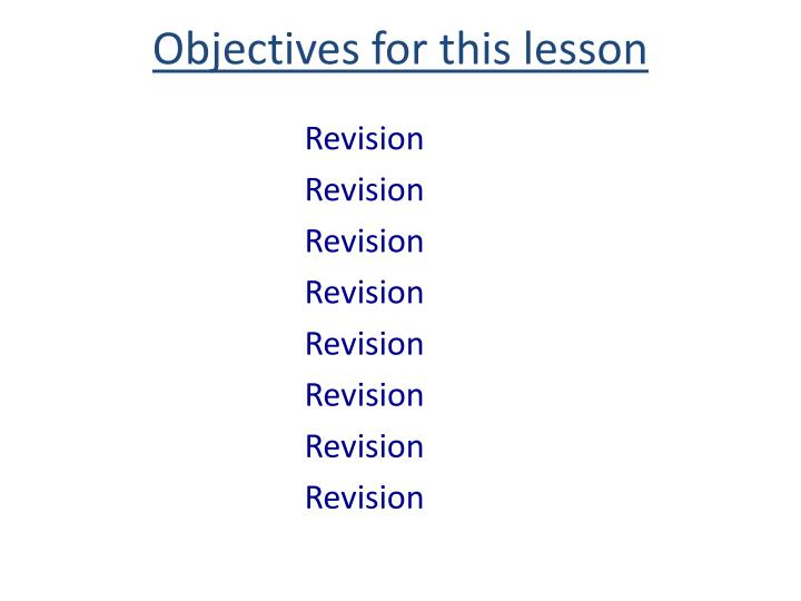 objectives for this lesson n.