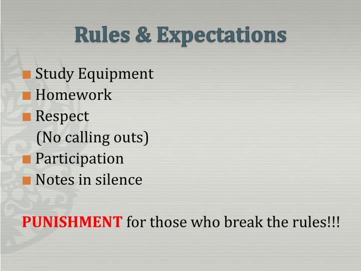 rules expectations n.
