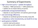 summary of experiments