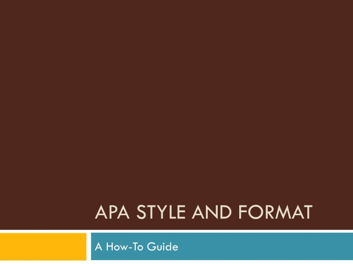 apa style and format n.