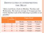 difficulties in interpreting the mean