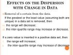 effects on the dispersion with change in data