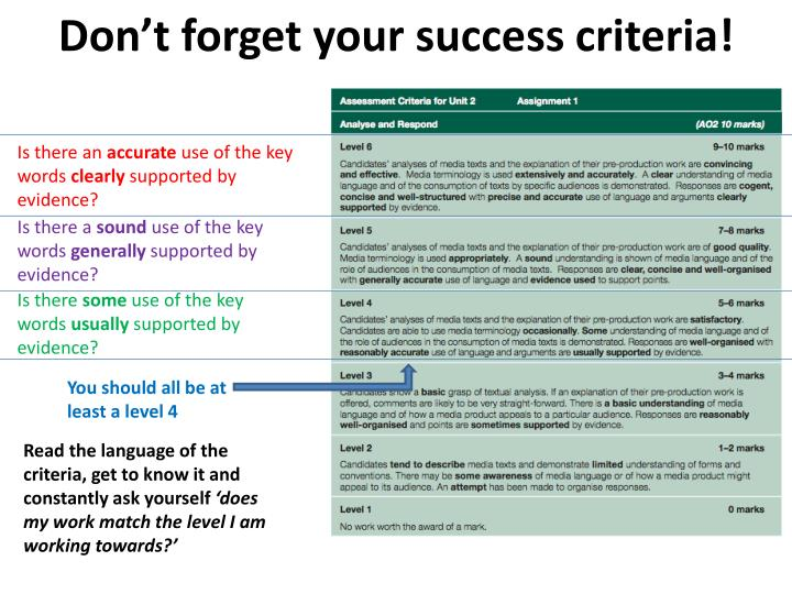 Don't forget your success criteria!