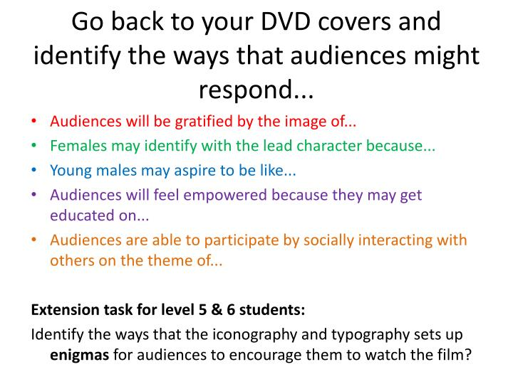 Go back to your DVD covers and identify the ways that audiences might respond...
