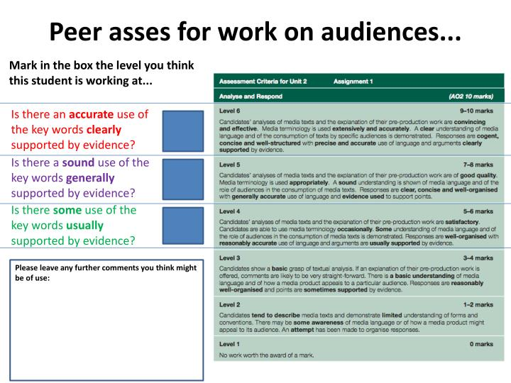 Peer asses for work on audiences...