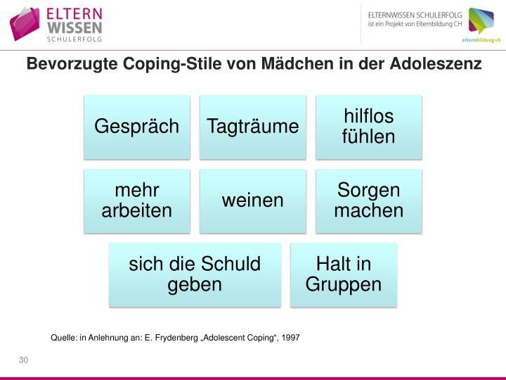 Bevorzugte Coping-Stile von Mädchen in der Adoleszenz