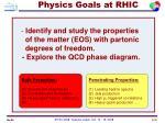 physics goals at rhic