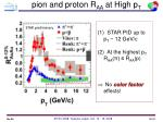 pion and proton r aa at high p t