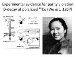 experimental evidence for parity violation decay of polarized 60 co wu etc 1957