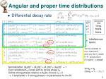angular and proper time distributions