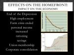 effects on the homefront impact on the economy